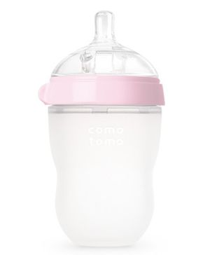 Comotomo Natural Feel Baby Bottle With Cap Pink Single - 250 ml
