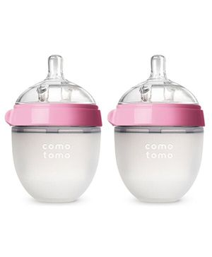 Comotomo Natural Feel Baby Bottle Pink Pack Of 2 - 150 ml