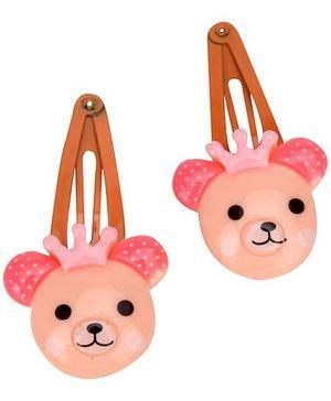 Pikaboo Teddy Snap Clip Set Of 2 - Peach