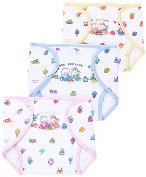 Babyhug Printed Cloth Nappy With Velcro Closure Mini Set Of 3 - Pink Yellow Blue