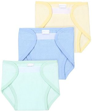 Babyhug Cloth Nappy With Velcro Closure Mini Set Of 3 - Yellow Sky Blue Green