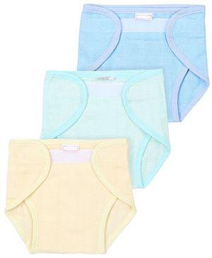 Babyhug Cloth Nappy With Velcro Closure Mini Set Of 3 - Green Light Yellow Blue