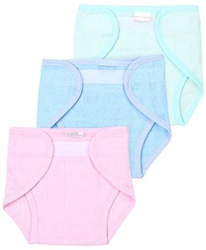 Babyhug Cloth Nappy With Velcro Closure Mini Set Of 3 - Green Pink Teal Blue