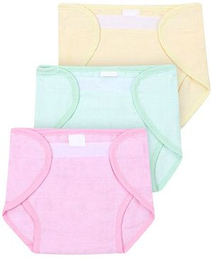 Babyhug Cloth Nappy With Velcro Closure Small Set Of 3 - Pink Green Yellow