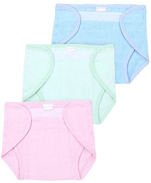 Babyhug Cloth Nappy With Velcro Closure Small Set Of 3 - Green Pink Teal Blue