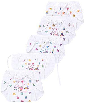 Babyhug Cloth Nappy With String Large Set Of 5 - Bear Print On White Base