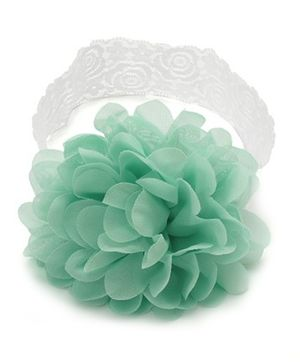 NeedyBee Chiffon Flower Headband - Mint Green And White