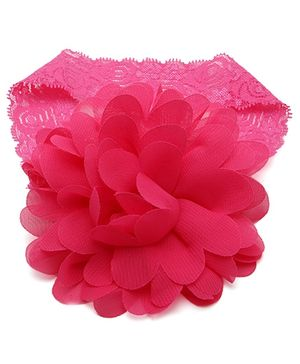 NeedyBee Headband Floral Applique - Fuchsia Pink