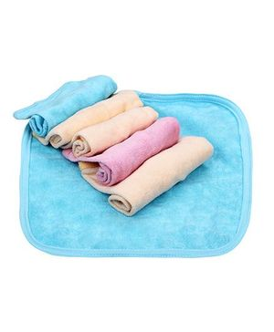 Babyhug Napkins Pack Of 6 - Pink Blue Peach