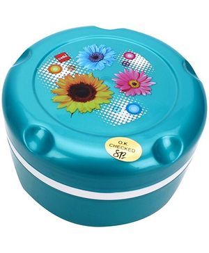 Cello Insulated Hot Pot Munch Box With Floral Print - Aqua Green