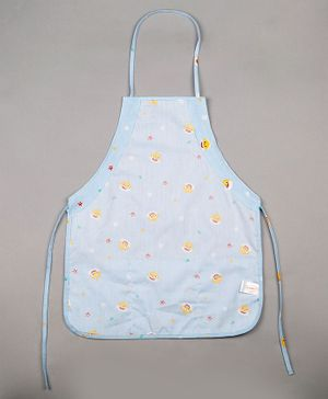 Grandma's Kids Apron Sparrow Print - White And Purple