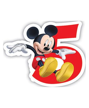 Disney Mickey Mouse And Friends Birthday Numeral 5 Candle - 2.5 inches