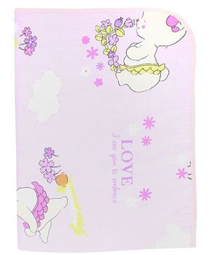 Diaper Changing Baby Mat Bear And Floral Print - Light Purple