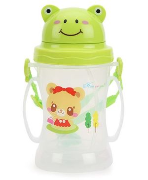 Sipper Water Bottle With Straw Cartoon Print Green - 350 ml