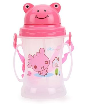 Sipper Water Bottle With Straw Cartoon Print Pink - 350 ml