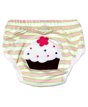 Cocalily Boutique Potty Training Pants Cupcake Embroidery - Brown And Cream