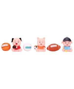 Baby Bath Toys Sports Ball And Animal Shape Pack Of 6 - Multicolor