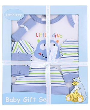 1st Step Baby Clothing Gift Set Little Dino Print Pack Of 5 - Blue