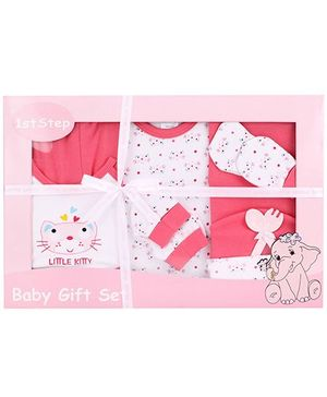 1st Step Baby Clothing Gift Set Kitty Print Pack Of 9 - Pink