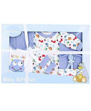 1st Step Baby Clothing Gift Set Little Dino Print Pack Of 9 - Blue