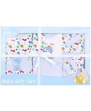 1st Step Baby Clothing Gift Set Little Dino Print Pack Of 11 - Blue