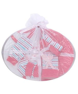 1st Step Clothing Basket Gift Set Kitty Print Pack Of 10 - Pink