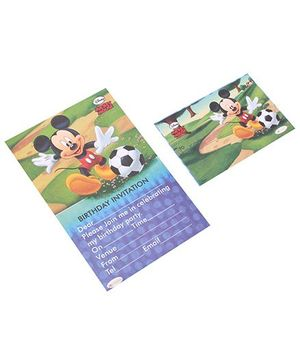 Disney Mickey Invitation & Envelopes Pack Of 10 - Multi Color
