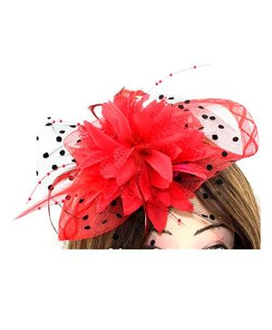 Little CuddleBillycock Feather Girls Hairbands - Red