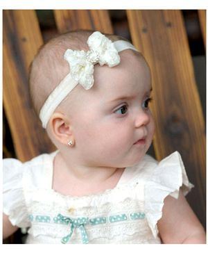Little Cuddle Pearl Rosette Headband - White