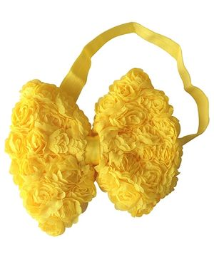 NeedyBee Rosette Bow Headband - Yellow