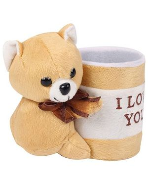 Natkhat Pen Stand With I Love You Print - Light Brown