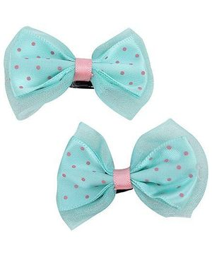 Pikaboo Hair Clip With Polka Dots Pack Of Two - Green