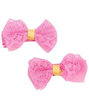 Pikaboo Lacy Bow Hair Clips Pack Of Two - Fuschia