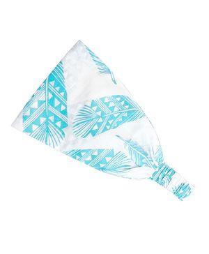 ATUN Ocean Blue Feather Print Headband - Small