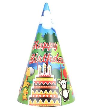 B Vishal Jungle Birthday Theme Party Caps Pack Of 10 - Multi Color