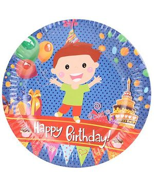 B Vishal Paper Plate Happy Birthday Theme Multi Color - Diameter 8.6 Inches