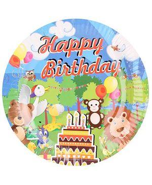 B Vishal Paper Plate Jungle Birthday Theme Multi Color - Diameter 8.6 Inches