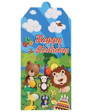 B Vishal Jungle Birthday Theme Invitation Card Pack Of 10 - Multi Color