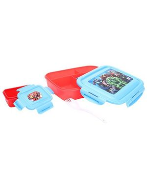 Avengers Printed Lunch Box - Blue & Red