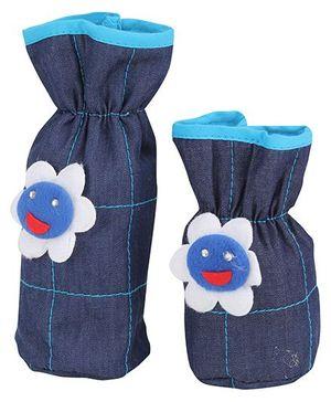 1st Step Bottle Cover Floral Applique Set of 2 - Blue