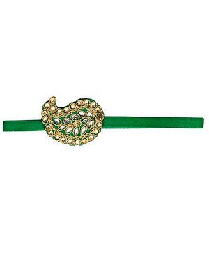 D'chica Lovely Golden Thread Work Headband - Green