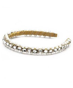 D'chica Kundan And Pearl Work Hair Band - Cream