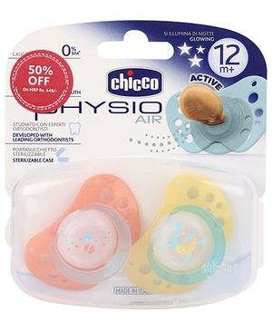 Chicco Soother Physio Air Lumi Ltx 2 Pieces - Orange And Yellow