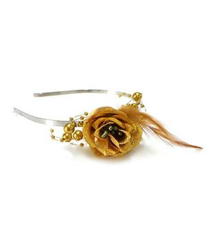 Aayera's Nest Rose With Feather Hairband - Golden