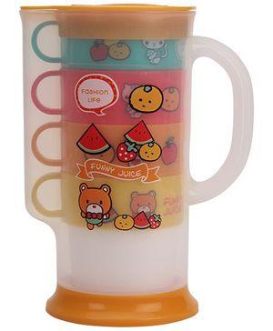 Jug With Cups Set Of 5 - Orange