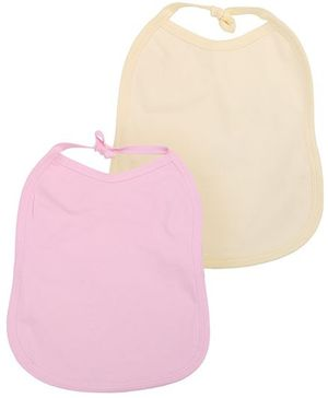Babyhug Plain Bibs Set of 2 - Pink And Light Yellow