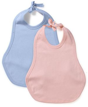 Babyhug Tie Up Bib Solid Colour Set Of 2 - Peach Sky Blue