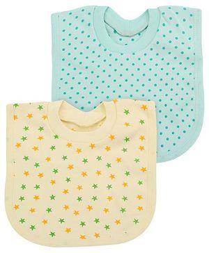 Babyhug Printed T-Shirt Style Bib Set of 2 - Yellow Mint Green