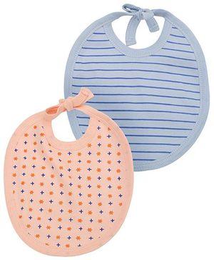 Babyhug Striped And Stars Bib Set of 2 - Peach Blue