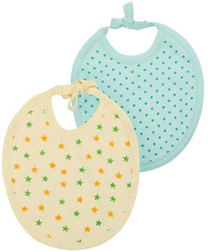 Babyhug Dots And Stars Bib Set of 2 - Yellow Aqua